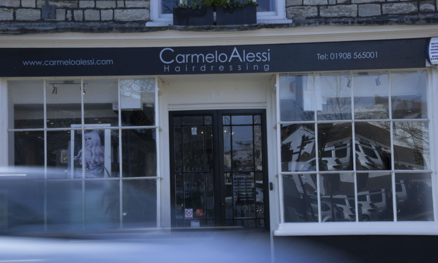 carmelo alessi hairdressing front door of shop stony stratford